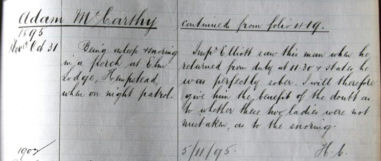 Adam McCarthy October 1895. Found asleep and snoring in a porch when on night duty. (Gloucestershire Police Archives URN 7896)