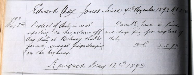 Edward Charles Jones May 1893. Neglect of duty not reporting pigs found straying. (Gloucestershire Police Archives URN 7897)