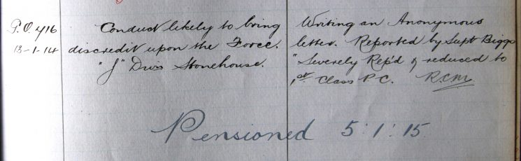 Conduct likely to bring discredit on the force, writing  an anonymous letter January 1914. (Gloucestershire Police Archives URN 7898)
