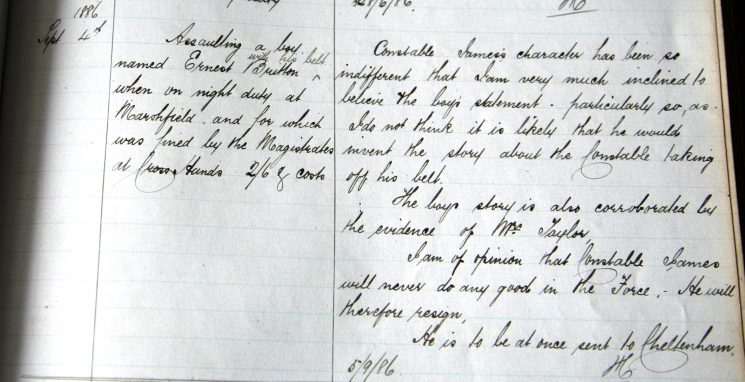 Constable James May 1886. Assault on a boy at Marshfield (Gloucestershire Police Archives URN 7901)