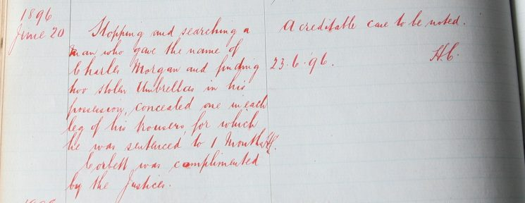 Edward Corbett, June 1896. Commended for finding stolen umbrellas. (Gloucestershire Police Archives URN 7905)