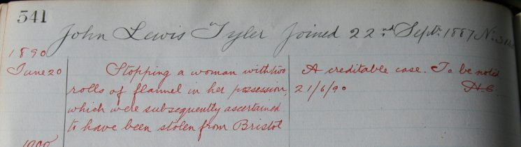 John Tyler, June 1890. Commended for arresting  a woman with rolls of stolen flannel. (Gloucestershire Police Archives URN 7906)