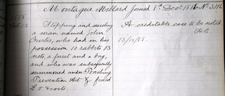 Montague Millard, October 1888. Commended for stopping a poacher. (Gloucestershire Police Archives URN 7913)