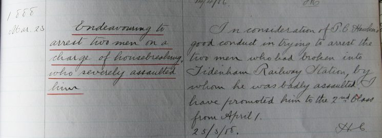 James Hawker, March 1888.  Commended for arresting two men, on a charge of housebreaking, who severely assaulted him. (Gloucestershire Police Archives URN 7914)