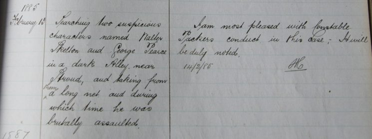William Packer, February 1885. Commended for searching two suspicious characters in a dark alley. (Gloucestershire Police Archives URN 7917)