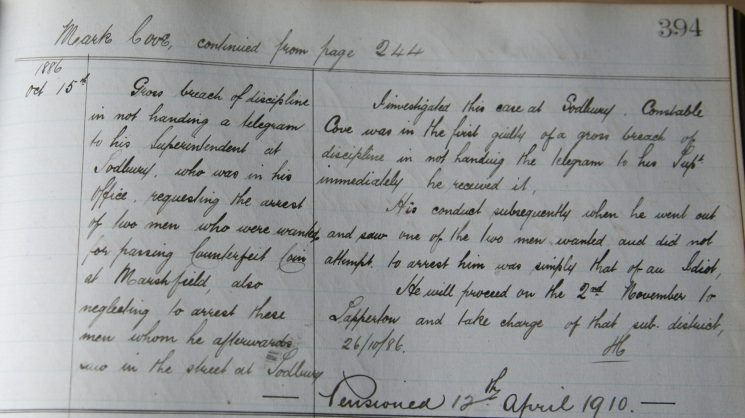 Mark Cove October 1886. Breach of discipline . (Gloucestershire Police Archives URN 7935)