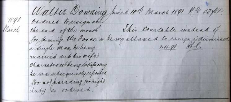 Walter Dowling March 1891. Joining the police as a single man when he was in fact married. (Gloucestershire Police Archives URN 7936)