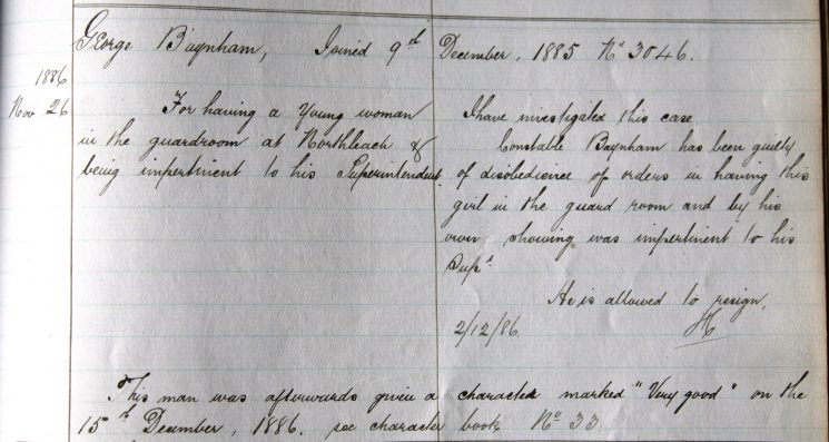 George Baynham November 1886. Disobedience of orders having a girl in the guardroom.(Gloucestershire Police Archives URN 7937)