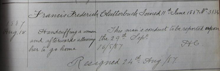 Francis Clutterbuck  August 1887. Handcuffing a woman and then allowing her to go home.(Gloucestershire Police Archives URN 7939)