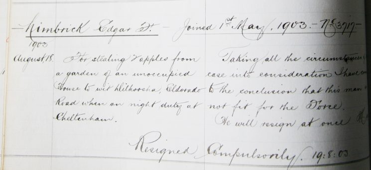 Edgar Limbrick August 1903. For stealing apples from a garden. (Gloucestershire Police Archives URN 7940)