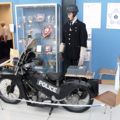 The motorbike was back at the open day, this time with a rider. (Gloucestershire Police Archives URN 7987)