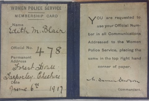 Women Police Service Membership Card dated 1917 belonging to Gloucestershire Woman Police Constable Edith M Blair. (Gloucestershire Police Archives URN 8009)