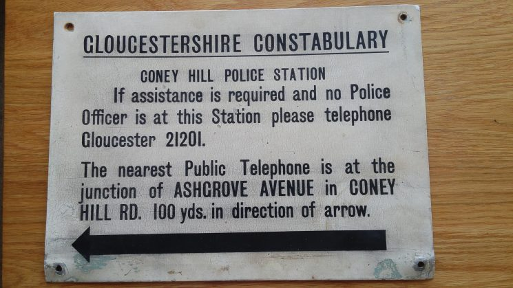 Coney Hill Police Station Public Information Sign. (Gloucestershire Police Archives URN 8037)