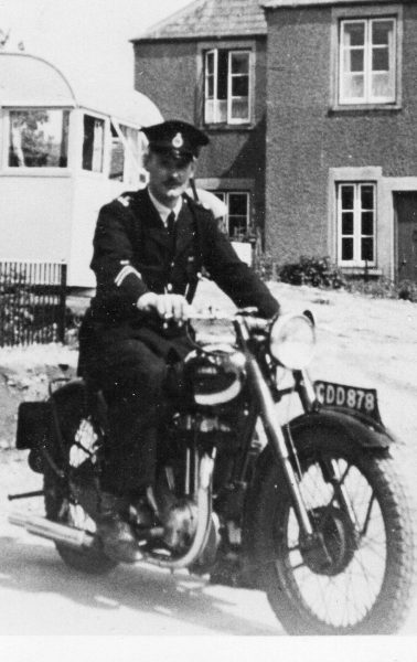 Police Constable Edgar Bowering at Birdlip Police Station early 1950s. (Gloucestershire Police Archives URN 8179)