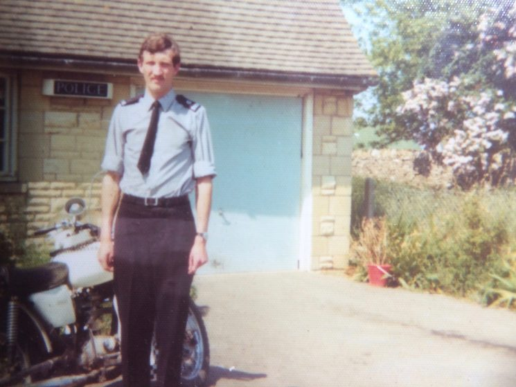 Outside Bibury Police Station with my BSA Fleetstar motorcycle in about 1973.