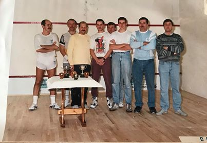 Competitors in the Gloucestershire Constabulary squash competition sometime in the mid 1980s at the Gloucestershire Country Club. Competitors from left to right Adrian Grimmet, Len Hutton,Roy Tyler, unknown , Eric Trotman,unknown, Trent Davis, Mike Eskins. (Gloucestershire Police Archives URN 8218) | Photograph from Trent Davis