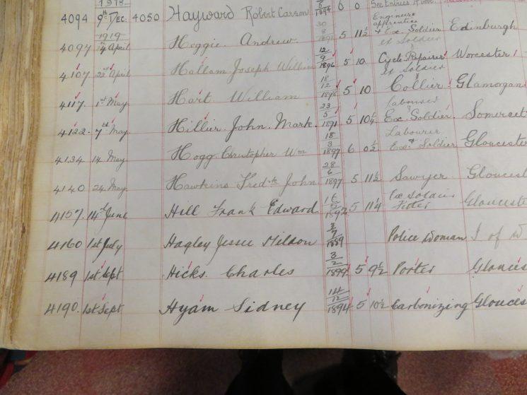 Register of Rural Constabulary entry for Jessie Mildon Hagley