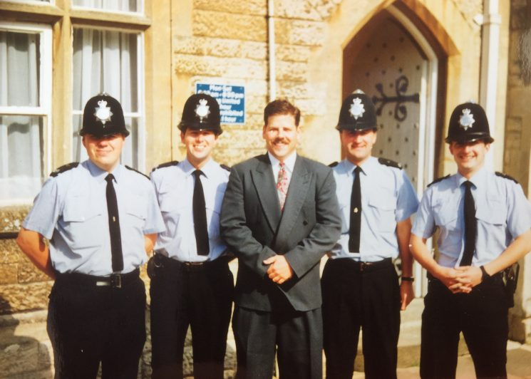 Fairford Police Station left to right , Geoff Poole, Derek Freeman, unknown, John Appleby and Julian Dickens. (Gloucestershire Police Archives URN 8255) | Photograph from Derek Freeman