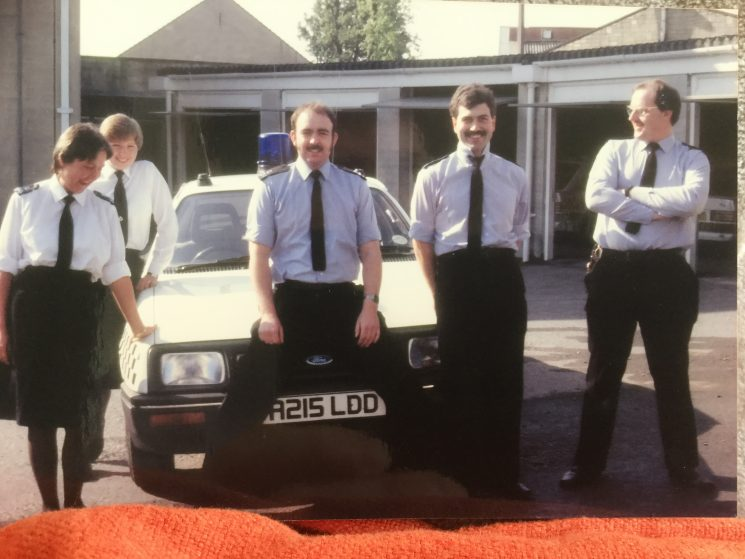 C Shift Cirencester 1987 Left to right , Helen Drewett, Deb Fitter, Ian Kay, Chris King and Dave Owen. Photo taken in the rear yard of Cirencester Police Station. (Gloucestershire Police Archives URN 8249) | Photograph from Derek Freeman