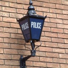 Blue lamp on outside of Police Station. (Gloucestershire Police Archives URN 8259)