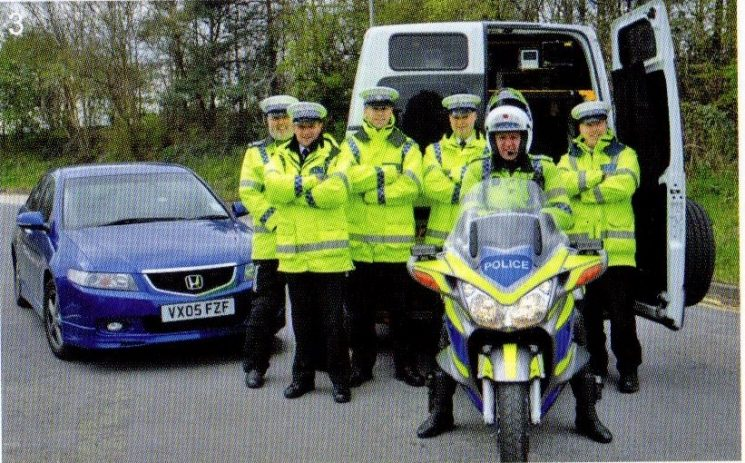 Automatic Number Plate Recognition team 2006. Left to right: Police Constables  Martyn Hillier, Ben Smith Lloyd Birch, Police Sergeant  Andy Evans,  Police Constables  Paul Thomas, Martin Gardner. (Gloucestershire Police Archives URN 8339)