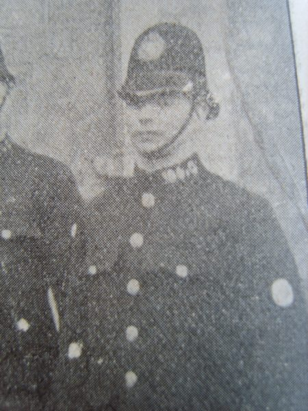 Police Constable 104 Frederick Corbett awarded Silver Braid for stopping a runaway horse on 2nd October 1920. (Gloucestershire Police Archives URN 8536)