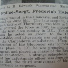 The death of Police Sergeant Frederick Hale. (Gloucestershire Police Archives URN 8581)