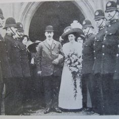 Detective Frank Hallett. the marriage of Detective Constable Frank Hallett of the Cheltenham Force took place at the Parish Church Cheltenham on January 20th 1912, his bride being Miss Macdonald of St Pauls Street North Cheltenham. Eight brother constables all of them single acted as guard of honour. (Gloucestershire Police Archives URN 8583)