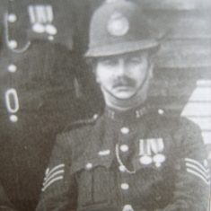 Sergeant 121 John Hobday awarded Silver Braid for rescuing a dog from a mine shaft on 28th August 1923. He was also awarded a medal from the Canine Defence League. (Gloucestershire Police Archives URN 8595)