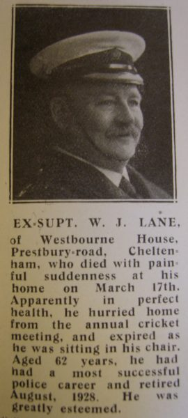 Superintendent W J Lane. (Gloucestershire Police Archives URN 8627)