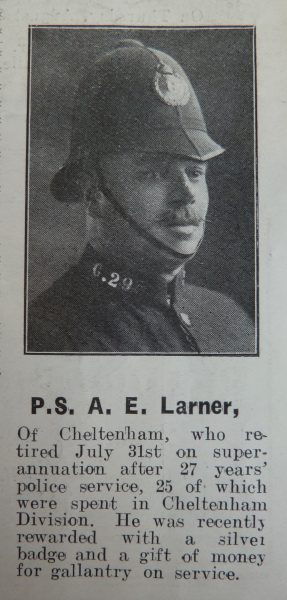 Police Sergeant 295 Albert Larner awarded  Silver Braid for stopping a runaway horse on 18th January 1922. He was also awarded £2:10:6d. (Gloucestershire Police Archives URN 8631)