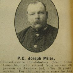 Police Constable 308 Joseph Miles. (Gloucestershire Police Archives URN 8644)