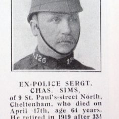 Police Sergeant 126 Charles Sims (Gloucestershire Police Archives URN 8686)