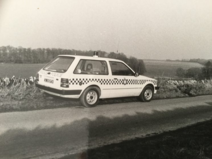 Echo 30 Fairford, A983 GAD was the replacement for MFH 230W at Fairford Police Station taken about 1983. The photo was taken between Hatherop and Eastleach. (Gloucestershire Police Archives URN 8777) | Photograph from Derek Freeman