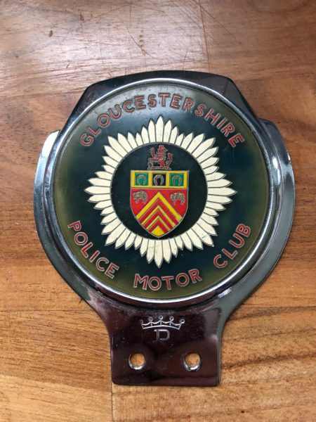 Gloucestershire  Police Motor Club badge from 1960s. (Gloucestershire Police Archives URN 8788) | Photograph from Steve Viner