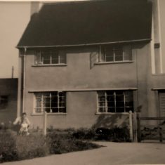 Slimbridge Police Station 1957 with Bert Viner and his son Steve outside | Photograph from Steve Viner