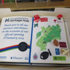 The cake celebrating the official opening  of the Heritage Hub looked good enough to eat. (Gloucestershire Police Archives 8900)