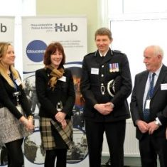 The opening of the Heritage Hub by Her Royal Highness The Princess Royal on Tuesday 8th January 2019. From left to right  Anna Pressman Gloucestershire Constabulary Records Manager, Hilary Allison from The Office of the Police and Crime Commissioner,  Julian Moss Assistant Chief Constable, Martyn White Police Archives volunteer, Kate Maisey Gloucestershire Archives, Sue Webb Gloucestershire Constabulary Archives Assistant, (Gloucestershire Police Archives URN 8902) | Photograph from Mikal Ludlow Photography