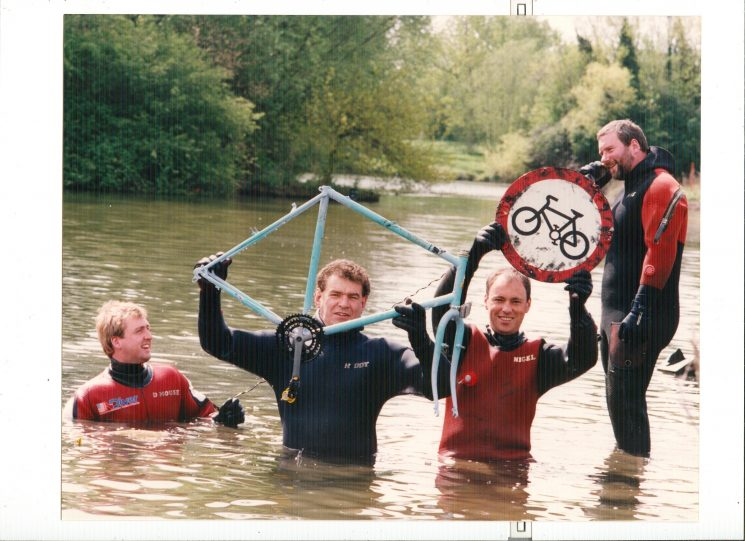 Gloucestershire Underwater Search Team. Furthest left Police Constable Chris Skinner, second from left  Jerry Herniman third from left Police Constable Nigel Pickering. (Gloucestershire Police Archives URN 8943)