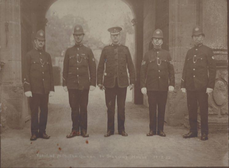This photograph was taken to mark the visit of Her Majesty the Queen to Stanway House on 14/8/1922. Officer 2nd from left is Harry Creed. (Gloucestershire Police Archives URN 1554)   From Hilary Steel