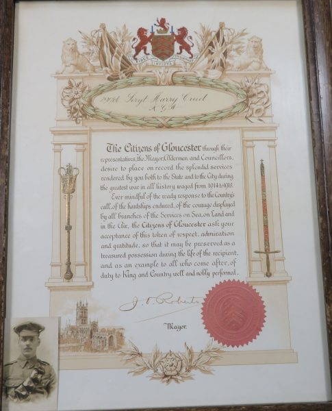 War service certificate awarded by citizens of Gloucester after the First World War. (Gloucestershire Police Archives URN 8921)   From Hilary Steel