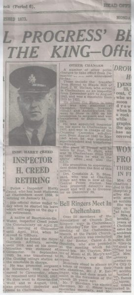 Newspaper cutting about the retirement of Inspector Harry Creed. (Gloucestershire Police Archives URN 8931)   From Hilary Steel