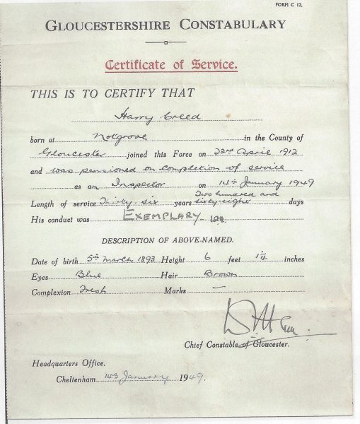 Certificate of service for Inspector Harry Creed. (Gloucestershire Police Archives URN 8932)
