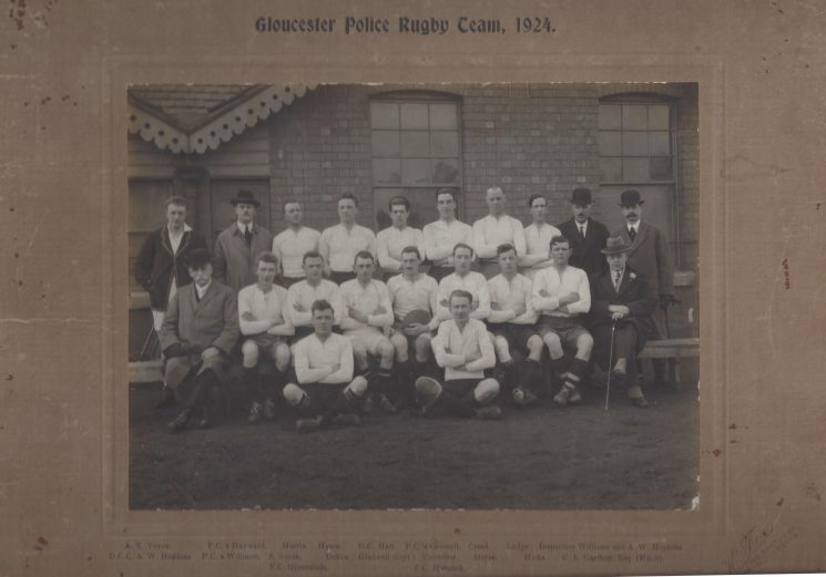Back row left to right: AT Voyce, Police Constables Hayward. Morris, Hyam, Detective Constable Hart, Police Constables Grinnell, Creed, Lodge, Inspectors Williams and AW Hopkins. Front row from left: Deputy Chief Constable Hopkins, Police Constables Willmott, Smith, Dobbs, Gladwell (capt)Crowther, Morse, Hicks Mayor CE Gardner. On the ground Police Constables Greenslade and Hancock (Gloucestershire Police Archives URN 8933)   From Hilary Steel