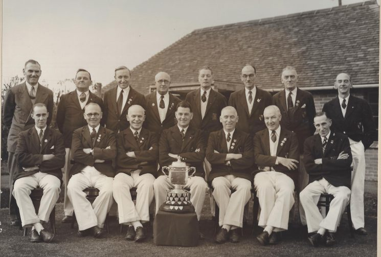 Cheltenham Bowls Club 1950 .Special Sergeant Ted Preece  seated third from left. (Gloucestershire Police Archives URN 8946) | From Geoff North