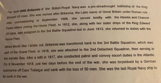 Information about  His Majesty's Ship Britannia during the First World War .(Gloucestershire Police Archives URN 9017-3) | From Geoff North