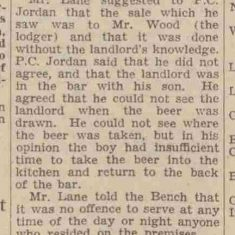 Article about drinking after hours. Officers mentioned Police Constables Eric Jordan and George Merry, Superintendent Hopkins. (Gloucestershire Police Archives URN 9221)