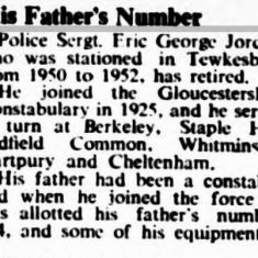 Retirement of Police Sergeant Eric George Jordan and the story of the transfer of his collar number from his father. (Gloucestershire Police Archives URN 9222)