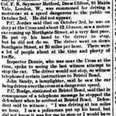 Police Constable George Jordan dealing with a dangerous driving case. (Gloucestershire Police Archives URN 9223)