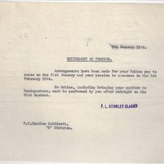 Retirement Arrangements for  Charles Coldicott (Gloucestershire Police Archives URN 9309)